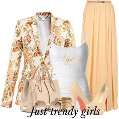 floral blazer with maxi skirt 10 s