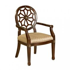 """The Spider Web Back Accent Chair has a """"medium mahogany"""" wood frame and an elegant diamond grain fabric seat. The unique details add interest and elegance. The perfect piece to add instant glamour to any space. Some assembly required. Accent Furniture, Rustic Furniture, Vintage Furniture, Outdoor Furniture, Mahogany Furniture, Repurposed Furniture, Unique Furniture, Pallet Furniture, Industrial Furniture"""