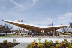 Great Green Roof Crowns the New St. Elizabeths East Gateway Pavilion in Historic D. Famous Architecture, Pavilion Architecture, Wood Architecture, Butterfly Roof, Canopy Design, Interior Design Magazine, House Styles, Outdoor, Gallery