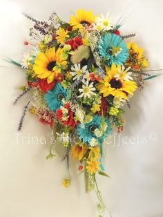 Cascading Bridal Wedding Bouquet / Sunflower Daisy Geranium