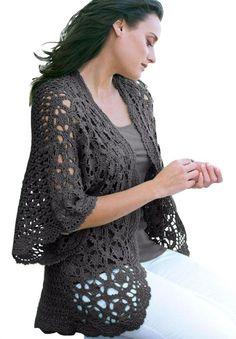 Amazon.com: Jessica London Women's Plus Size Shrug Cardigan In Crochet: Clothing