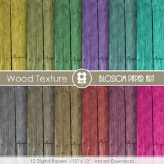 Wood Texture Digital Paper - Wood Digital Paper Pack - Texture - Colours - Scrapbooking Paper - Scrapbook - INSTANT DOWNLOAD - 1667