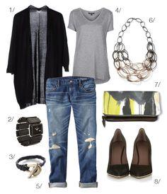 date night - boyfriend jeans, heels, and a statement necklace - via megan auman