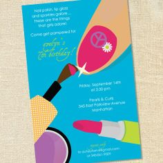 spa party ideas for girls birthday   Make-Up Spa Manicure Invitations for Girl's Birthday, Polish and ...