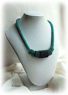 Green beaded pendant necklace Statement beadwork by Szikati