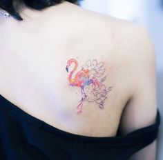 Floral Flamingo Tattoo by Sol Art