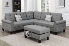 Poundex F6475 3 pc Biloxi II grey polyfiber fabric sectional sofa and storage ottoman