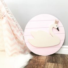 Swan on pink shiplap with gold crown Girl Nursery, Nursery Decor, Gold Crown, Swan, Farmhouse Style, Pink, Handmade, Collection, Golden Crown
