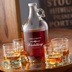 Intoxicating Personalized Distillery Growler Set (includes 4 printed low-ball glasses and 1-64oz Whiskey Growler)
