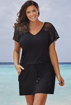 Discover the swimsuitsforall Black Phantom Dress. Explore items related to the swimsuitsforall Black Phantom Dress. Plus Size Black Dresses, Plus Size Outfits, Swimsuit Cover Up Dress, Style Feminin, Curvy Fashion, Womens Fashion, Beachwear Fashion, Swimsuits For All, Plus Size Fashion For Women