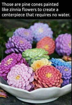 Pine cone flowers - Cones can be dipped, painted with a brush, or sprayed.  To just color the edges, roll cones in paint on a tray.