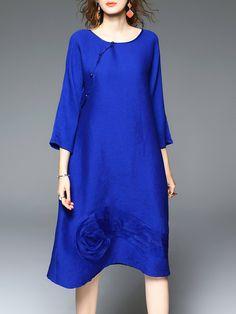 #AdoreWe #StyleWe Dresses - D.FANNI Blue Appliqued Crew Neck Simple Midi Dress - AdoreWe.net