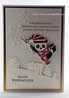 Ist er nicht süß dieser Party-Panda aus der kommenden Sale-a-Bration Aktion von Stampin`UP!... In Kombination aus alten und neuen Stempeln und Stanzen ist hier eine süße Weihnachtskarte entstanden...