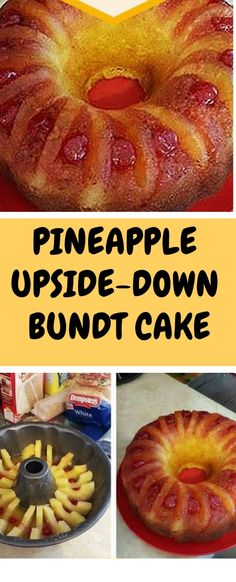 PINEAPPLE+UPSIDE-DOWN+BUNDT+CAKE Pineapple Slices, Pineapple Upside Down Cake, Crushed Pineapple, Box Cake Recipes, Sweets Recipes, Baking Recipes, Bundy Cake, Whip Frosting, Cake Cookies