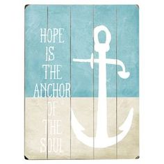 "Bring nautical-chic style to your living room or parlor with this charming wood wall decor, featuring an anchor detail and typographic motif.   Product: Wall decorConstruction Material: Wood Features: Anchor detailTypographic motifReady to hang Dimensions: 16"" H x 12"" W x 1"" D Cleaning and Care: Wipe with damp cloth"