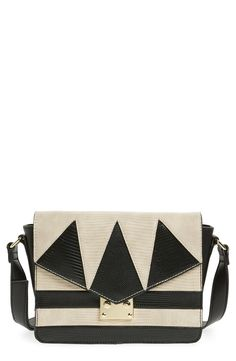 Loving the bold geometric color blocking and mixed textures on this structured flap bag from Topshop!