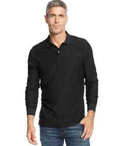 Tasso Elba Men's Big and Tall Long-Sleeve Marl Polo, Only at Macy's - Black LT