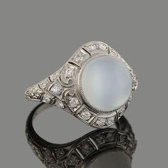 Art Deco Platinum Double Flash Moonstone Diamond Ring