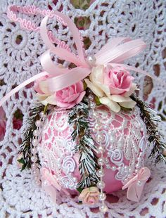Shabby Pink Chic Christmas Ornament, Pink Roses, Venice Lace, Pearl Trim, glass | eBay