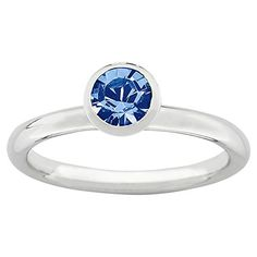 Sterling Silver High 5mm September Swarovski Ring by Stackable Expressions, Best Quality Free Gift Box -- You can get more details by clicking on the image.