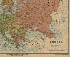 Original, beautifully detailed and coloured antique map of Europe, printed in 1878. This map comes from a geographic atlas published in 1878 by Charles Bouret in Paris and Mexico. The author of the engraving is E. Morieu. Text in Spanish. Size: aprox. 13 x 9.75 plus a margin of 0.75 Perfect to frame and hang on the wall. Sent to you in a flat envelope protected with a cello sleeve and cardboard. CONDITION: This is an original map. The paper is 130 years old and it shows its age...
