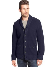 Club Room Big and Tall Marled Shawl Collar Cardigan - Sweaters - Men - Macy's   was 87.  now 50.- looks like nice qual.  navy only