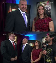 Stephanie McMahon, Triple H, Seth Rollins and Kane at Hell In a Cell 2015
