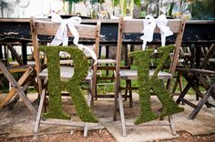 Faux moss covered letters accented with lady bugs and butterflies or tea pots and alike