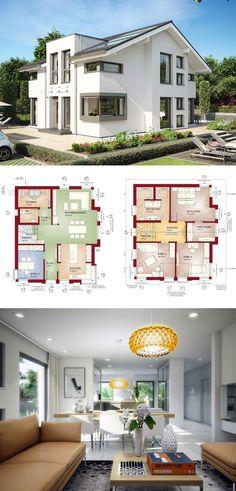 EINFAMILIENHAUS MIT SATTELDACH Concept-M 152 Bien Zenker - Haus bauen moderne Architektur Grundriss 5 Zimmer offene Küche mit Kochinsel Fassade Putz ( HausbauDirekt.de )