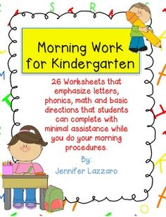 FREEBIE Kindergarten Morning Work Letters, Phonics, and Ma