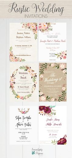 A beautiful selection of printable wedding invitations from rustic to boho, to classic and romantic.