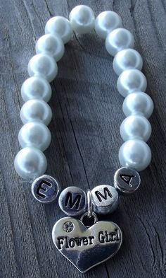 Name Bracelet with Flower Girl Rhinestone charm- Other charms available on Etsy, $12.48