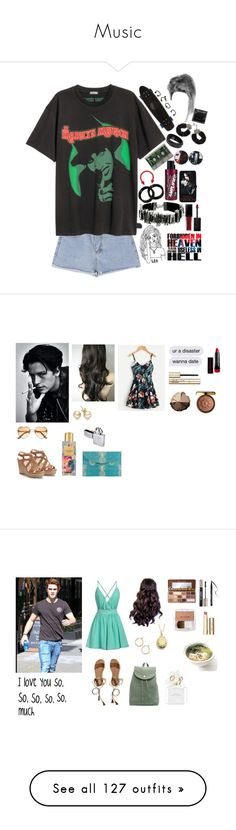 """""""Music"""" by me1ody ❤ liked on Polyvore featuring Marc Jacobs, Hot Topic, Manic Panic NYC, Swarovski, Stussy, CO, Smashbox, Bourjois, lilah b. and Smith & Cult"""