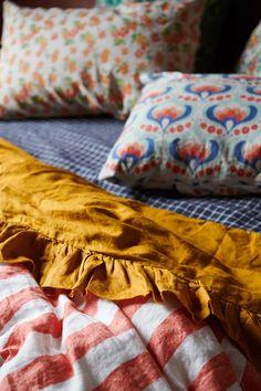 Linen Duvet Cover: Cherry Stripe – Jumbled Linen Sheets, Bed Linen Sets, Linen Duvet, Duvet Sets, Linen Fabric, Sophisticated Girls Room, Tribal Bedding, Messy Bed, Textiles