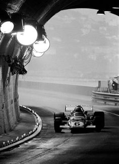 Monaco GP, 1971. Mario Andretti pilots his Ferrari into the tunnel.