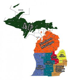 Grew up in the Northern part, married a man from Da U., now live in West Michigan. I love this state. Michigan State Map, Michigan Travel, Detroit Michigan, Lake Michigan, Michigan Facts, Upper Peninsula, Northern Michigan, Lake Superior, Great Lakes