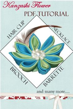 Tsumami Kanzashi Flower PDF Tutorial by jinkyscrafts on Etsy