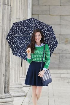 Sweater: Milly Skirt: J.Crew (Similar) Oxford: Ralph Lauren Bag: Kate Spade Shoes: Marc Jacobs Umbrella: J.Crew (Similar) Bracelets: Kate Spade J.Crew Earrings: Loren Hope