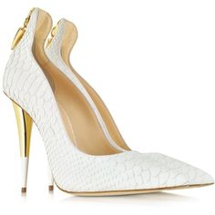 Giuseppe Zanotti White Croco Embossed Leather Pump (3.135 BRL) ❤ liked on Polyvore featuring shoes, pumps, heels, giuseppe zanotti, white heel shoes, white pumps, heel pump and white heel pumps
