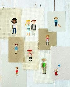 Cross Stitch Family Portraits (with patterns/templates)