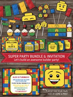 INSTANT DOWNLOAD, Lego Inspired Party Decor, Lego Party Pack, Lego Birthday Party, Lego Invitations, Banner, Labels, Toppers DIGITAL Files by LaBelleStudio on Etsy https://www.etsy.com/listing/192735691/instant-download-lego-inspired-party