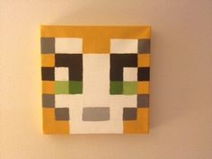 Minecraft Inspired Stampy Cat Canvas 12 x 12 by youreahoot on Etsy, $20.00