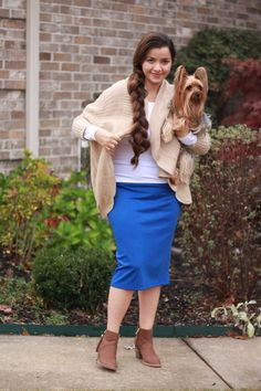 New color in our favorite Brooklyn pencil skirt  avail in regular and curvy sizes. Cardigan still avail Link in bio