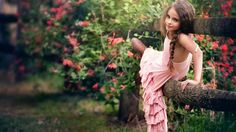 Cute Girl Smile Fence Flowers