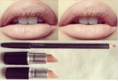 MAC Oak lipliner + Honey Love lipstick & Myth lipstick