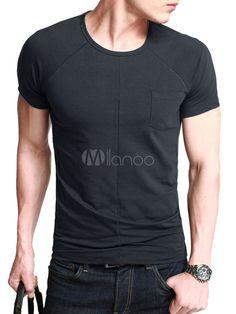 [7,58€] Algodón imitación bolsillos camiseta de cuello redondo manga corta Color sólido inteligentes hombres