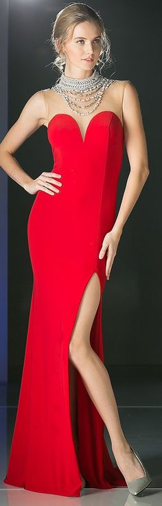 Cinderella Divine 5701 Illusion Sweetheart Pearl Neckline Red Fitted Evening Gown