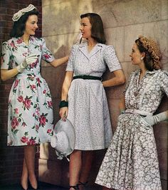 these dresses are great examples of day dresses or sunday dresses in 1943.