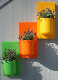When I spotted these colorful modular vertical planter systems at the Independent Garden Centers show, they reminded me of Uten.Silo, the classic 1969 wall storage containers designed for Vitra by Dorothee Becker. Their design cousin, Bellavaz, are modular self-watering planters with which one can get creative, arranging them in various patterns and shapes.