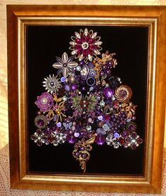 RESERVED for Rodney! ---------------------------------------------------------------------------------------------------------------------------- ~ I Love an Old-Fashioned Christmas! ~I LOVE PURPLE!! Handcrafted Jeweled Framed Christmas Tree was created with Vintage & Modern Jewelry, Rhinestones, Beads, & other unique & pretty jewels on a background of soft Black Velvet ~ Many different shades of Purple & Lavender & lots of Sparkling Rhinestones make this Christmas Tree really sparkle & s...